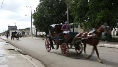 Cuba, Cardeans street scene with horse cart Stock Footage