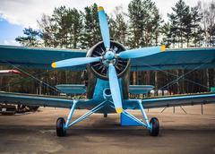 Blue retro airplane Stock Photos