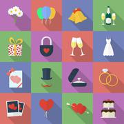 Set of wedding icons. Flat style Stock Illustration