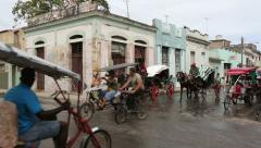 Cuba, Cardeans street scene with oldtimer and horse cart Stock Footage