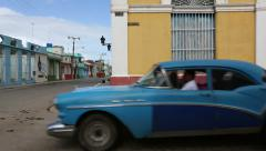 Cuba, Cardeans street scene with blue oldtimer - stock footage
