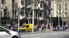 4K Traffic street Amatller building Casa Batllo Barcelona crowded downtown icon  Stock Footage