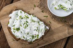 Slice of Bread with Herb Curd Stock Photos