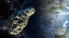 Meteorite close to Earth - stock illustration