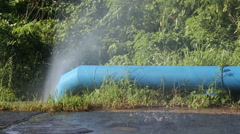 Leaking water pipeline in Cuba Stock Footage