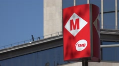 4K Metro sign Barcelona downtown subway entrance exit Spanish place traffic sign Stock Footage