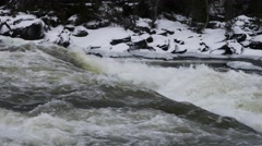 Sweden Tännforsen waterfall, winter Stock Footage