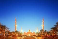 Sheikh Zayed Grand Mosque at dusk, Abu-Dhabi Stock Photos