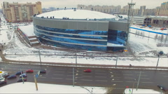 Aerial view of ice Palace in Saint-Petersburg Stock Footage
