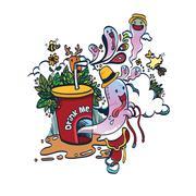 Doodle Funny Spirit of Drink - stock illustration