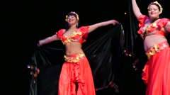 Stock Video Footage of Women dance on a stage during X International Oriental Dance Festival