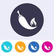 Single vector chilli pepper icon - stock illustration