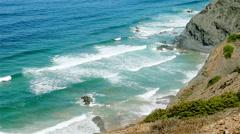 Blue waves Atlantic Ocean rocky shore Portugal - stock footage