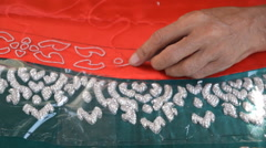 Hand embroidery close up Stock Footage