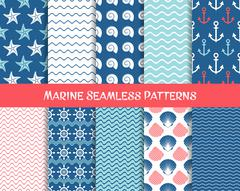 Sea and marine seamless patterns - stock illustration