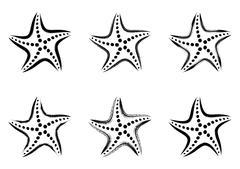 Stock Illustration of Black vector stylized starfish icons