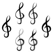 Treble clefs brush strokes design - stock illustration