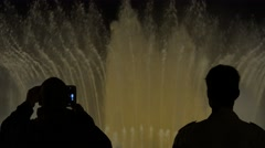 4K Tourist people enjoy Magic fountain water show Barcelona landmark night icon  Stock Footage