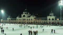 People ice skating on Christmas in the City Park of Budapest Time Lapse Stock Footage