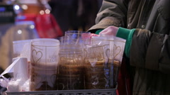 Kurtos Kalacs in a basket seen at a Christmas market in Budapest Stock Footage