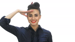 American pin-up girl saluting with a yes sir - stock footage