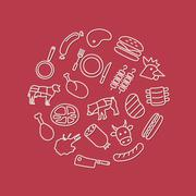 Meat icons in circle Stock Illustration