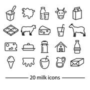 Milk line icons Stock Illustration