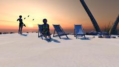 Island Paradise At Sunset or Sunrise - stock illustration