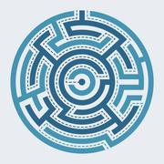 Circle maze vector illustration - stock illustration