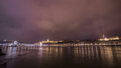 Amazing timelapse of the Danube river on Christmas in Budapest Stock Footage