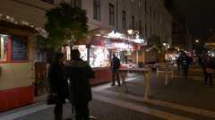 Hungaro Bistro outdoor restaurant on a street on Christmas in Budapest - stock footage