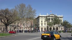 4K Traffic street large avenue traditional facade building Barcelona landmark  Stock Footage