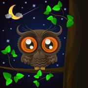 Owl and moon, nocturnal sky. - stock illustration