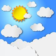Vector sun with clouds Stock Illustration