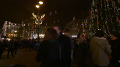People near the Christmas tree in Vorosmarty Square on Christmas in Budapest Stock Footage