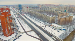 Aerial view of a road in the city in the winter Stock Footage