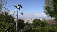 4K Timelapse cable car transportation up air Barcelona cityscape rooftop emblem  Stock Footage