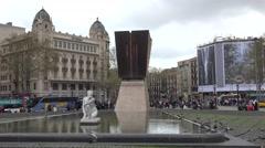 4K Catalonia Square traffic street Barcelona Francesc Macia monument icon place Stock Footage