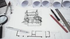 Animated blueprint of detached house - stock footage