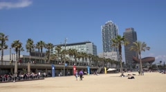 4K Timelapse tourist people walk beach promenade Barcelona icon place day emblem Stock Footage