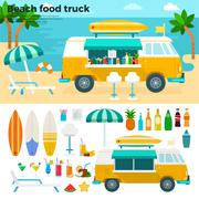 Beach food truck with cold beverages - stock illustration