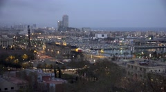 4K Timelapse heavy traffic car Port Vell Barcelona cityscape old harbor emblem   Stock Footage