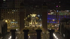 4K Aerial view traffic street Placa Espanya Venetian towers Barcelona city town Stock Footage