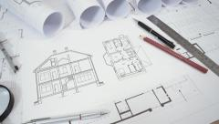 Architectural drawing animation - stock footage