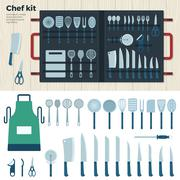 Modern Kitchen Tools for Cooking. Chef Kit - stock illustration