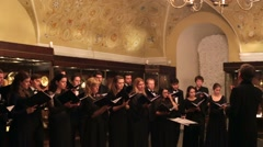 Concert of sacred England music, of Elizabeth's I era. - stock footage