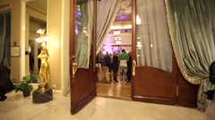 "People in a historical hall ""Metropol"" of luxury Hotel Metropol Moscow. - stock footage"