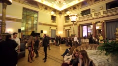 "People in a historical hall ""Metropol"" of luxury Hotel Metropol Moscow. Stock Footage"