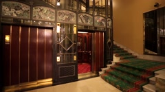 old-fashioned elevator in ? Metropol hotel. - stock footage