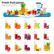 Glasses with fruit juices on the table - stock illustration